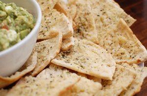 Avocado Feta Dip and Homemade Pita Chips ~