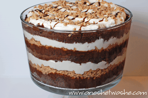 So, this Chocolate Toffee Trifle is one of those desserts that is so insanely easy but when you bring it in the room...mouths drop. www.orsoshesays.com #dessert #recipe #chocolate #trifle #toffee #chocolatetoffeetrifle