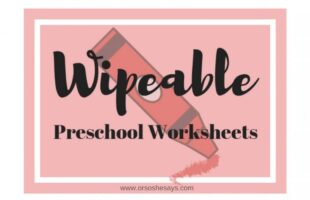 DIY Write and Wipe Preschool Worksheets (she: Chelsea)
