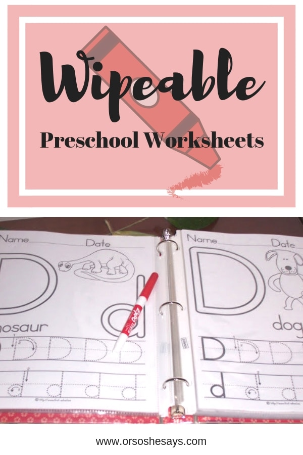 Wipeable Preschool Worksheets mean you only invest once in something your little learner can use over and over again. Get the details on www.orsoshesays.com
