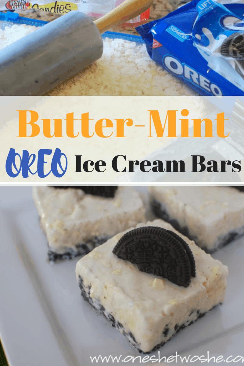 Butter-Mint OREO Ice Cream Bars #oreo #icecream #buttermints www.orsoshesays.com
