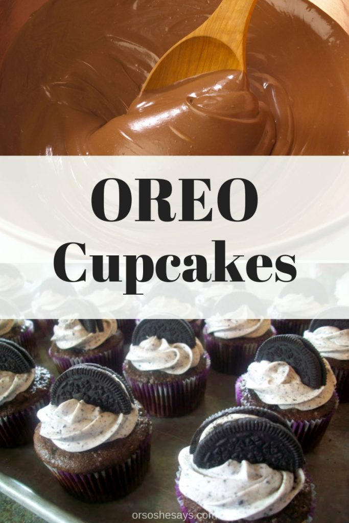 These Oreo cupcakes are so good! I could eat them all day! These are a great treat for all occasions, and everyone will be wanting more. www.orsoshesays.com #oreos #recipe #dessert #cupcake #oreocupcake