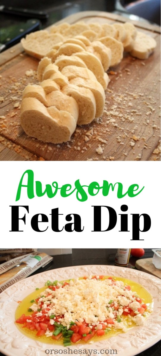 My favorite recipe for feta dip! I love serving this at parties and it's always the first thing to go! Check out our simple recipe today on the blog. #fetadip #appetizer #recipe #apps #OSSS www.orsoshesays.com