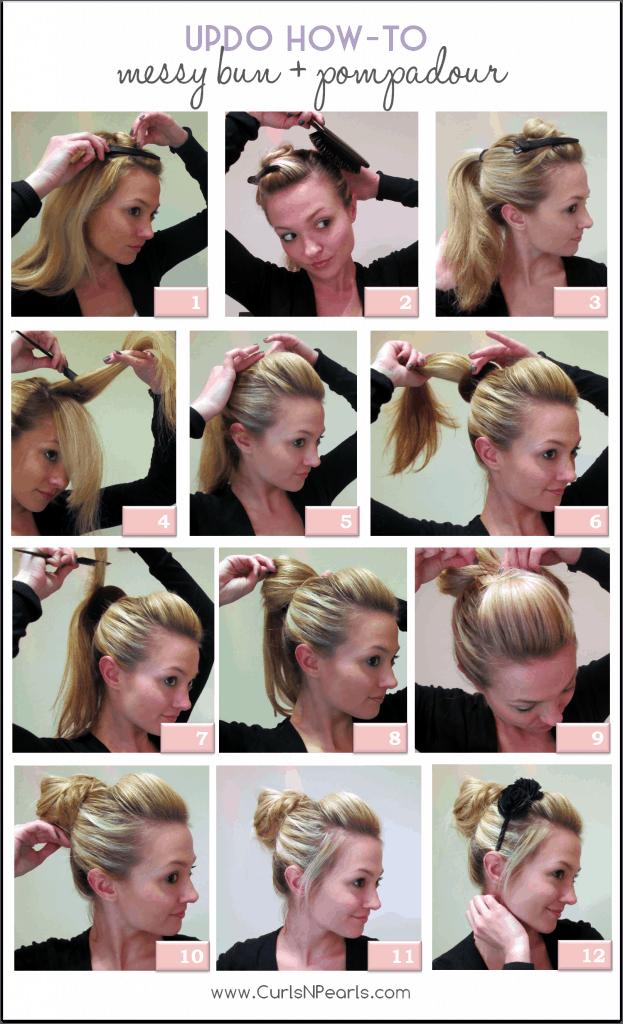 Hair Tutorial Messy Bun With Pompadour She Christina