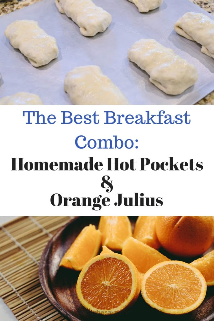 The fun thing is, you can make ANY sort of hot pocket with any sort of filling. But, today it's all about breakfast. Serve these up with an Orange Julius and it's perfect. www.orsoshesays.com #breakfast #recipe #burrito #hotpocket #orangejulius