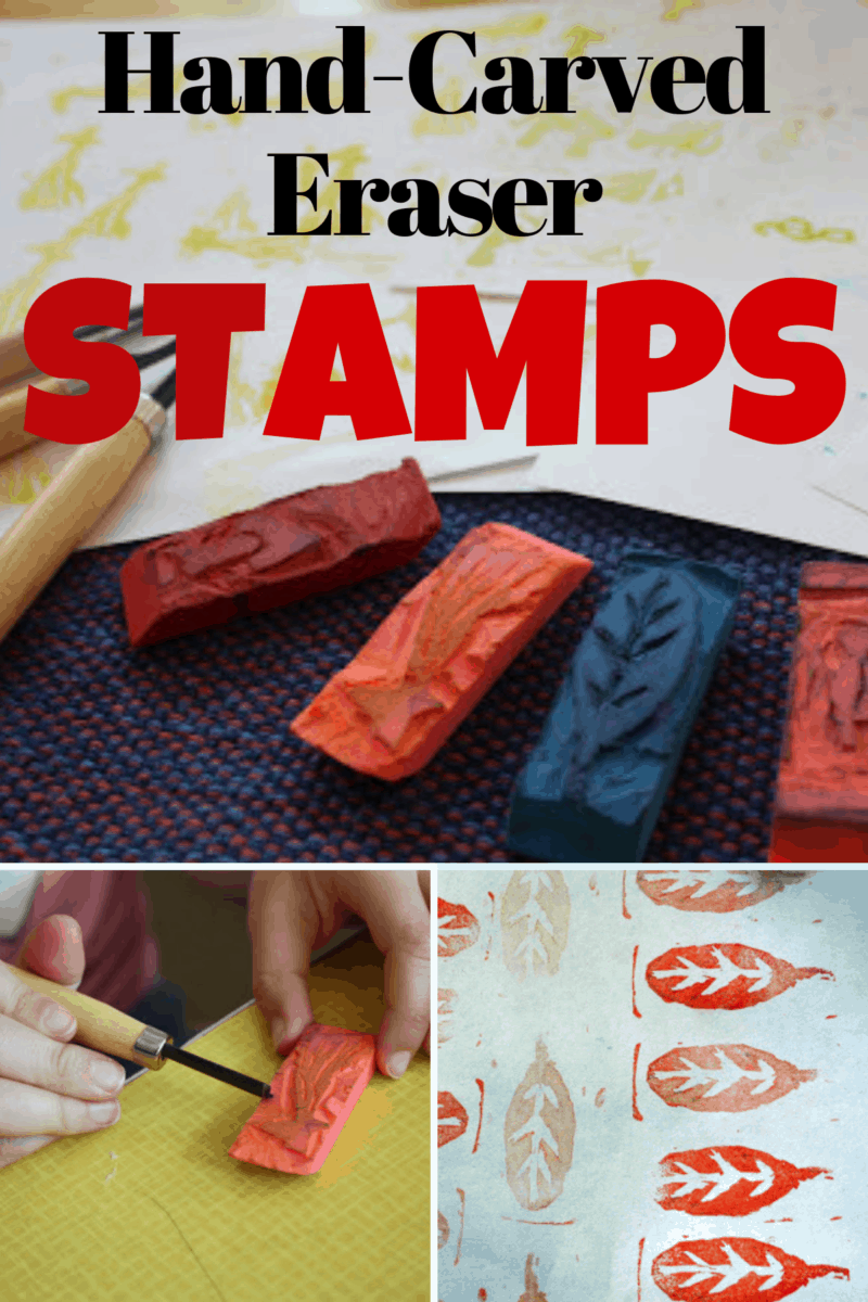 Hand Carved Eraser Stamps ~ Fun craft project for kids and yourself!
