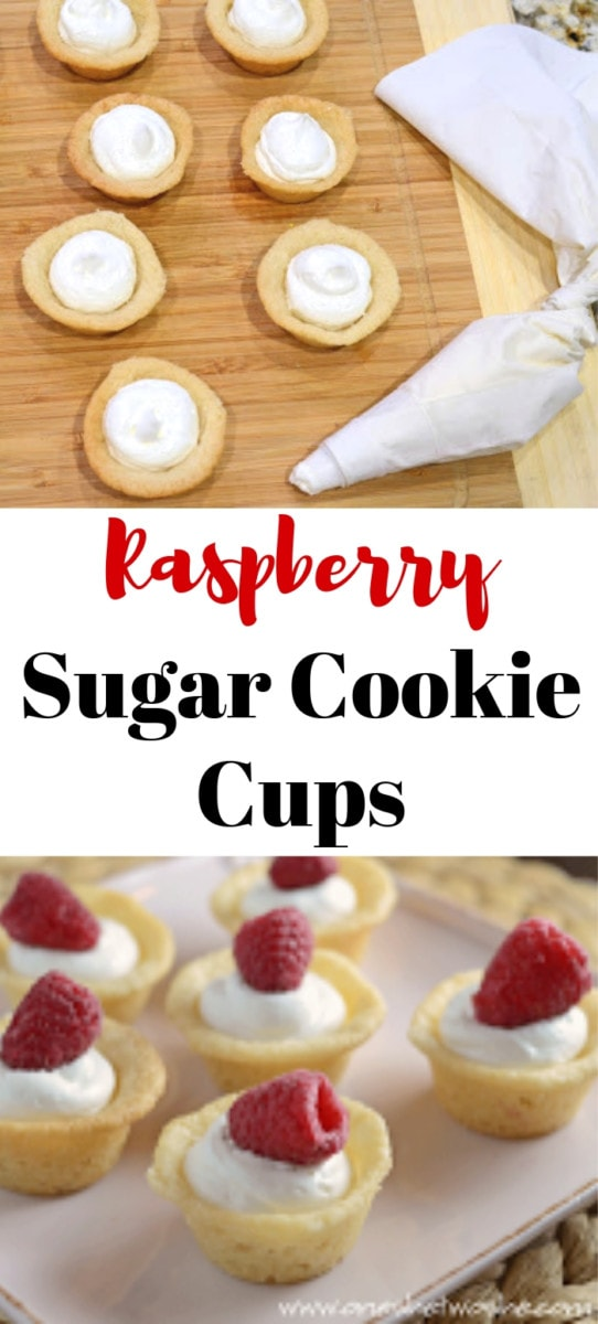 These raspberry sugar cookie cups are as delicious as they are adorable! Filled with cream and topped with a berry, they're simple as can be! #recipes #dessert #raspberrysugarcookiecups #raspberrydessert www.orsoshesays.com