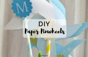 DIY Paper Pinwheels - perfect baby or bridal shower decor on www.orsoshesays.com