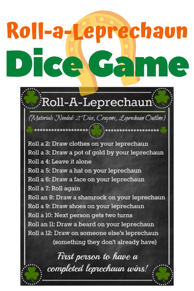 Roll-A-Leprechaun St. Patrick's Day Activity ~ Dice Game