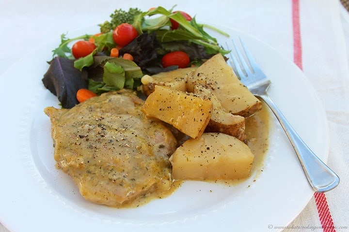 Slow Cooker Ranch Pork Chops and Potatoes by www.whatscookingwithruthie.com
