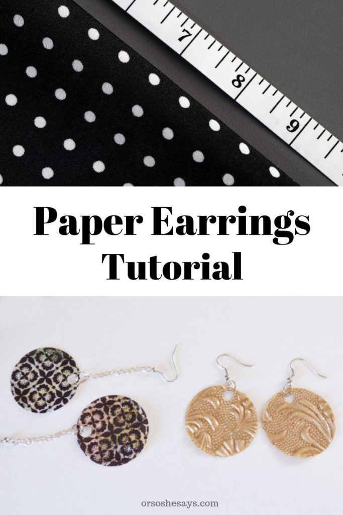 Paper earring tutorial on www.orsoshesays.com #paperearrings #DIYearrings #jewels #jewelry