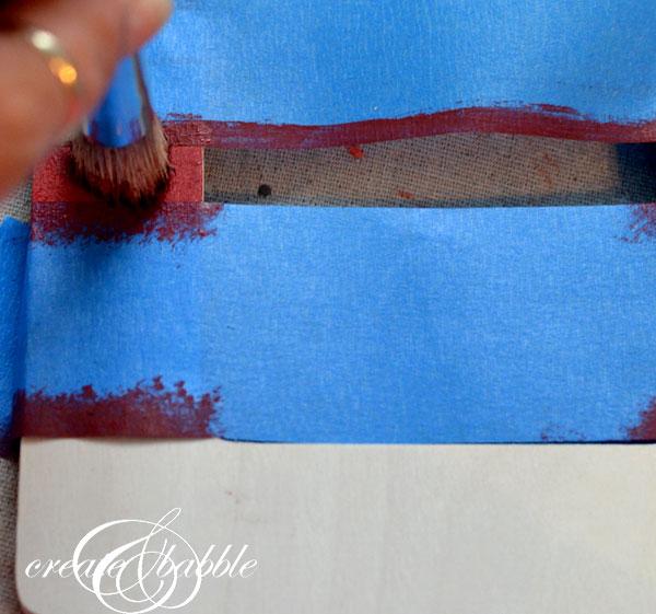 painting stripes on frame_createandbabble.com
