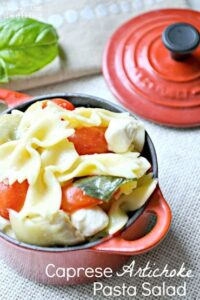 Caprese Artichoke Pasta Salad (she: Cathy)