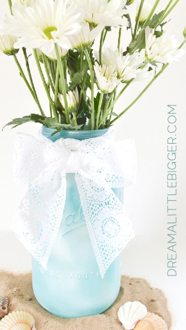 Make a faux sea glass vase out of an old vessel or a mason jar!