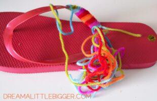 Cheap and Easy Rainbow Yarn Flip Flops Tutorial (she: Allison)