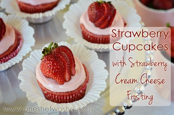 Strawberry Cupcakes with Strawberry Cream Cheese Frosting Or so