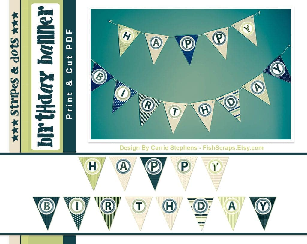 stripes dots birthday banner free printable or so she says