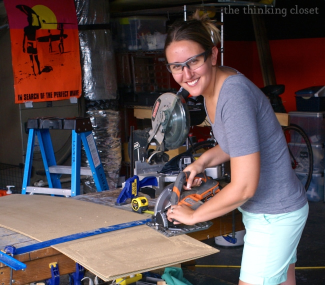 Circular Saw and Protective Eyewear in Action