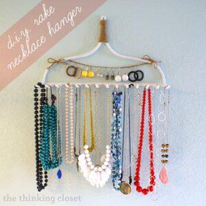 Easy DIY Rake Necklace Hanger (she: Lauren)