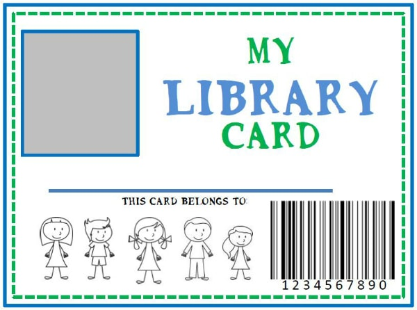 family library diy pretend library card she kristina or so she says. Black Bedroom Furniture Sets. Home Design Ideas
