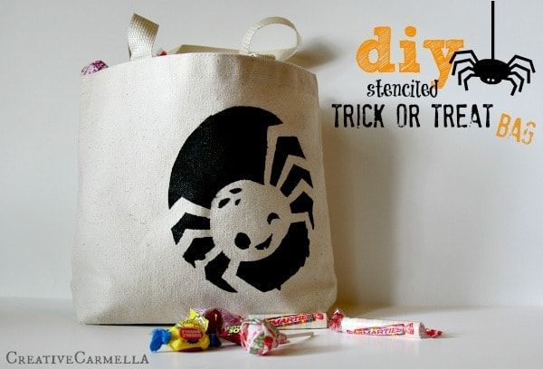 Diy Halloween Trick Or Treat Bags.Diy Halloween Stenciled Trick Or Treat Bag She Carmella