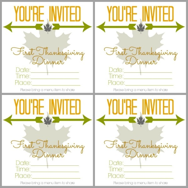 1st Thanksgiving Dinner Invite 2