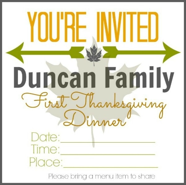First Thanksgiving Dinner Fun Family Tradition W Printable Invitation She Brooke