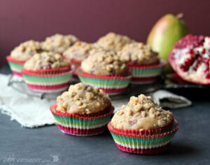 Skinny Pomegranate Pear Muffins with Ginger Oat Streusel (She: Allie)