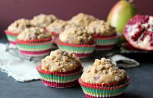 Skinny Pomegranate Pear Muffins with Ginger Oat Streusel | Baking a Moment