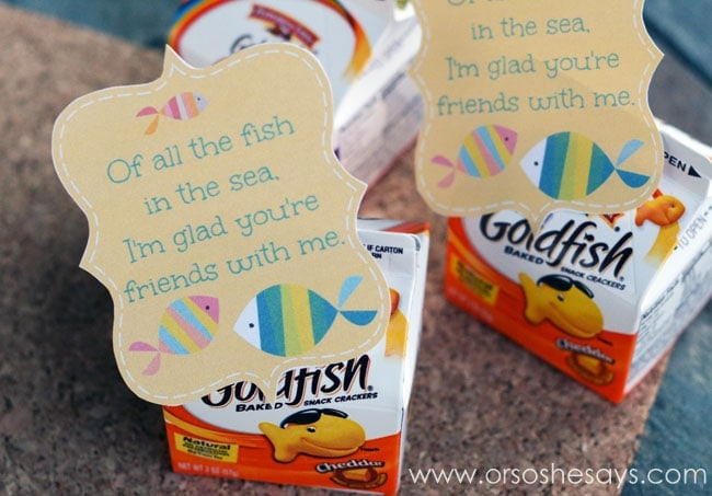 Get a free Fish Valentine printable today, and use it for all the Goldfish and Swedish Fish lovin' kiddos you know! 'Of all the fish in the sea...' on the blog: www.orsoshesays.com