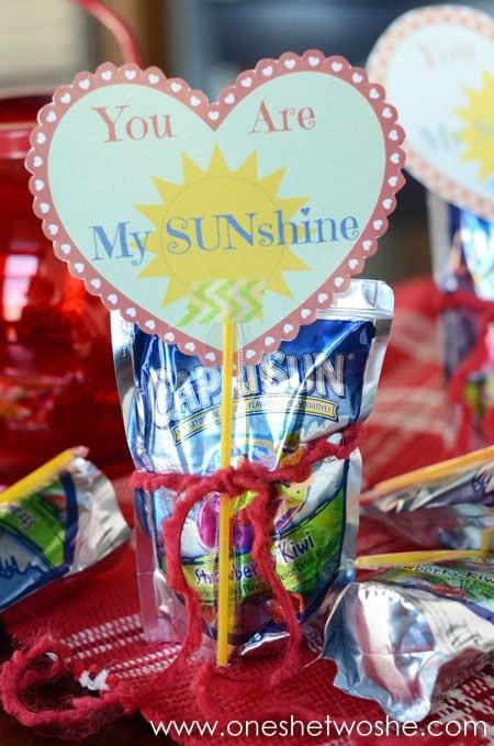 'You Are My Sunshine' Valentine Printable www.oneshetwoshe.com
