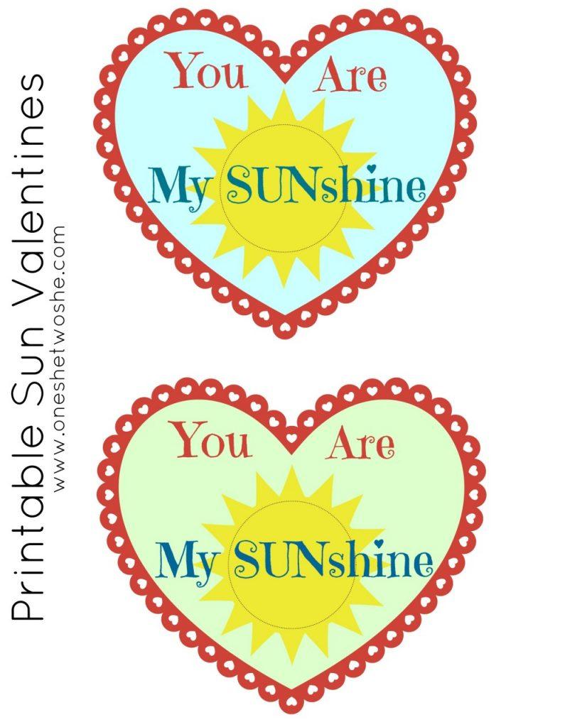 'You Are My Sunshine' Valentine Printable for Capri Suns! www.oneshetewoshe.com