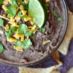 Zesty Black Bean Dip ~ a healthy, quick and easy snack for Super Bowl Sunday or any day | FiveHeartHome.com for OneSheTwoShe.com