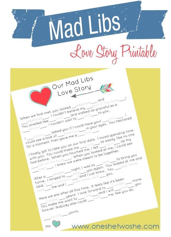 Mad Libs Love Story Printable! www.oneshetwoshe.com