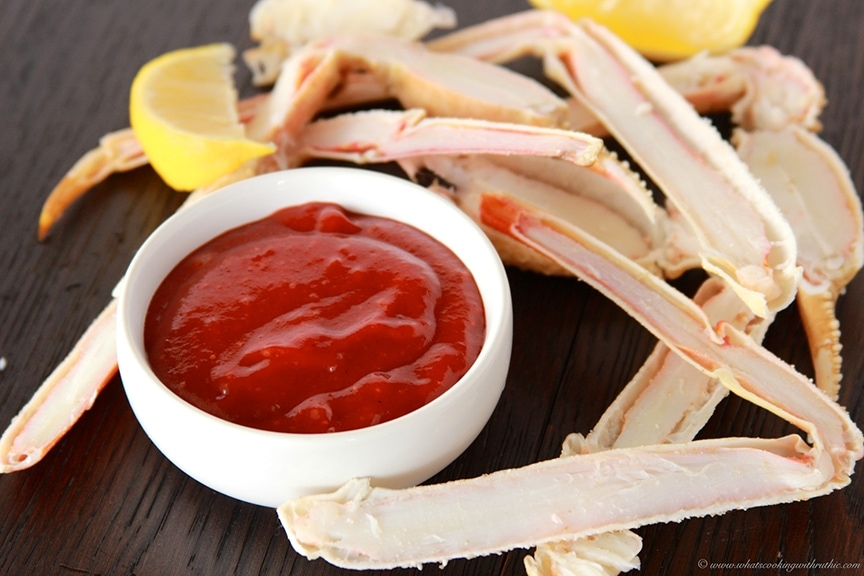 Homemade Cocktail Sauce with Crab Legs or Shrimp is a simple but tasty ...