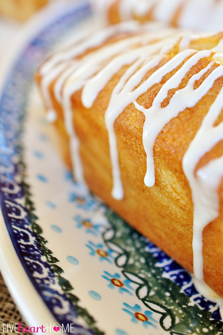 Orange Pound Cake Mini Loaves ~ this moist pound cake tastes like a burst of sunshine! | FiveHeartHome.com for OneSheTwoShe.com