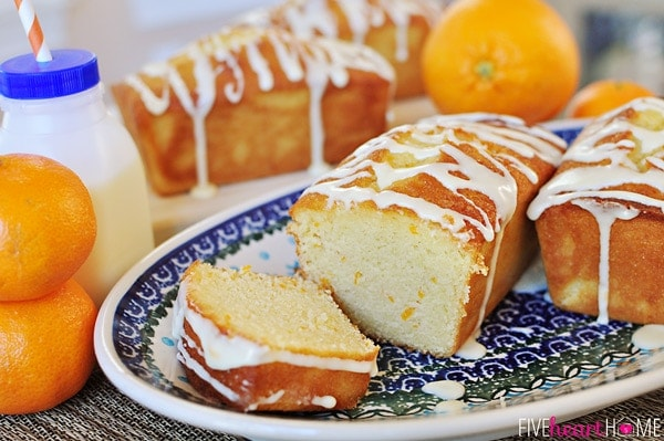 Orange Pound Cake Mini Loaves ~ this moist pound cake tastes like a burst of sunshine! | orsoshesays.com #orangepoundcake #poundcake #dessert #recipe