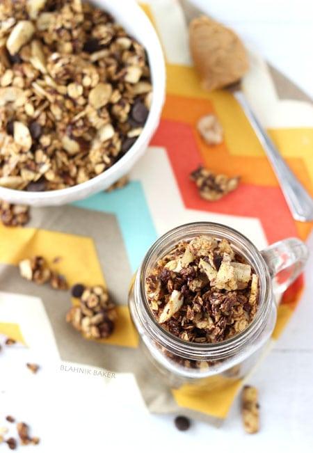 peanut butter chocolate banana chip granola