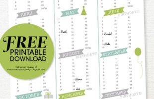 birthday calendar printable