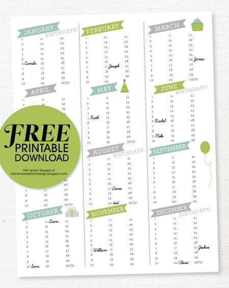 birthday calendar printable