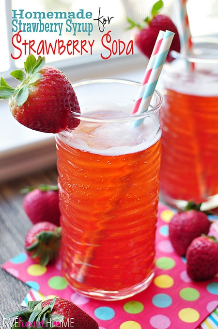 Homemade Strawberry Syrup {for} Strawberry Soda ~ this simple-to-make syrup is also good on ice cream, pound cake, waffles, and more! | FiveHeartHome.com for OneSheTwoShe.com