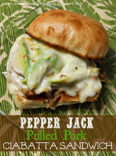pepper jack pulled pork ciabata sandwich