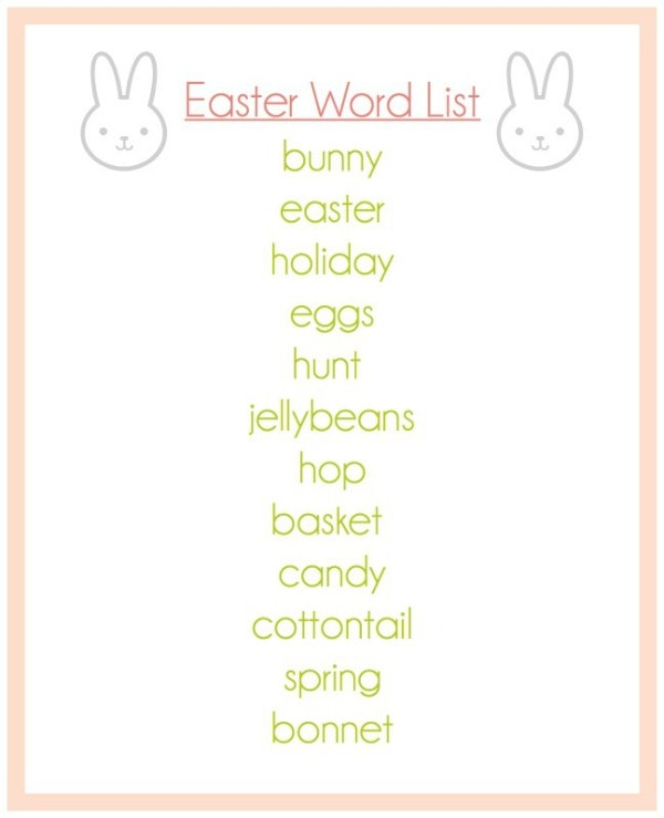 Easter Word List