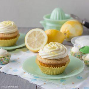 Lemon Greek Yogurt Cupcakes with Cream Cheese Frosting | Baking a Moment