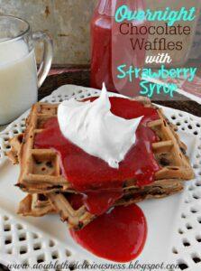 Overnight Chocolate Waffles with Strawberry Syrup (she: Jana)