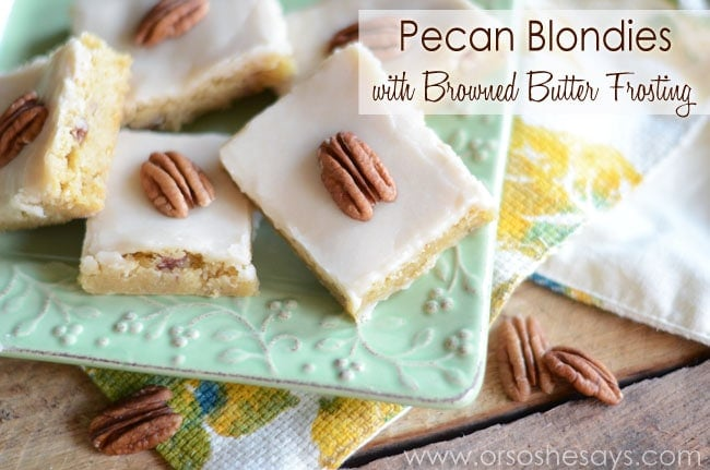 Pecan Blondies with Browned Butter Frosting