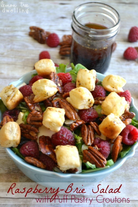 Raspberry Brie Salad with Puff Pastry Croutons 4