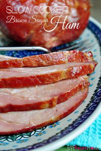 Slow Cooker Brown Sugar Ham ~ let the crock pot cook the main dish for Easter dinner! | FiveHeartHome.com