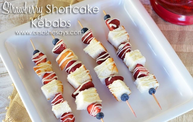 Strawberry Shortcake Kabob Dessert on www.orsoshesays.com #strawberryshortcake #dessert #recipe #kabob #kebabs #strawberryshortcakekebabs #dessertbebabs