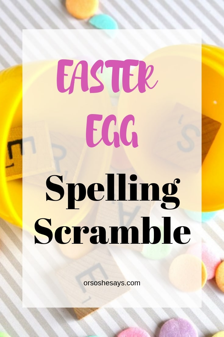 Easter Egg Spelling Scramble - Fun Easter game! www.orsoshesays.com #easter #eggstuffers #games